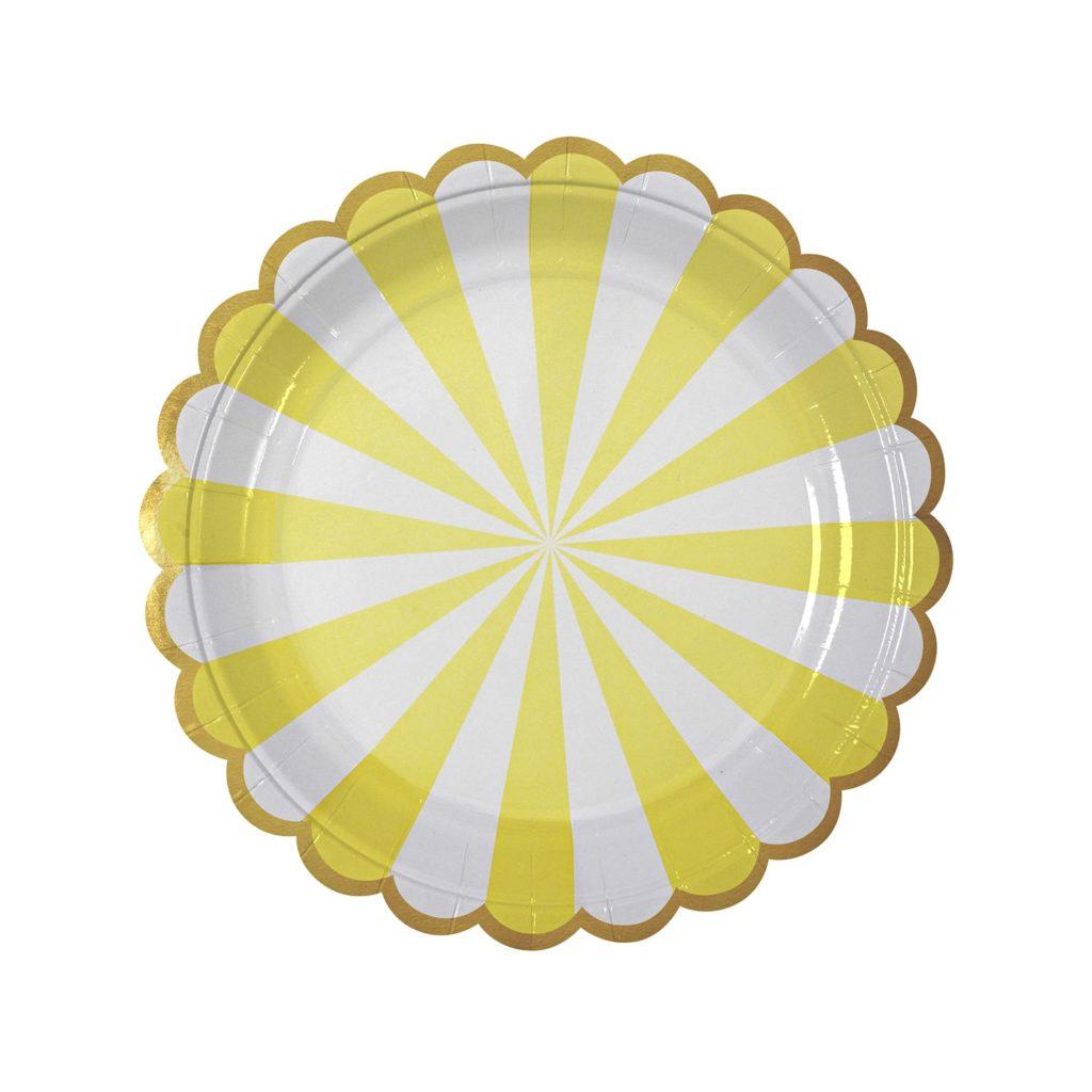 assiettes-jaune-blanc-anniversaire