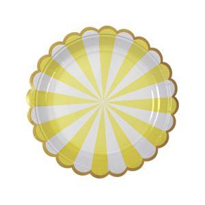 Petites assiettes rayées jaune