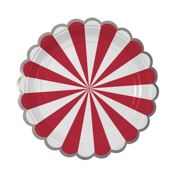 Red Fan Stripe  Plates