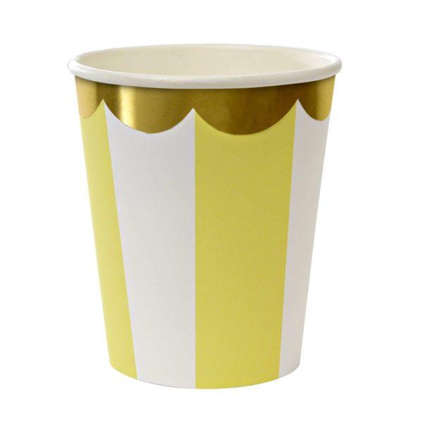 Gobelets rayés jaune