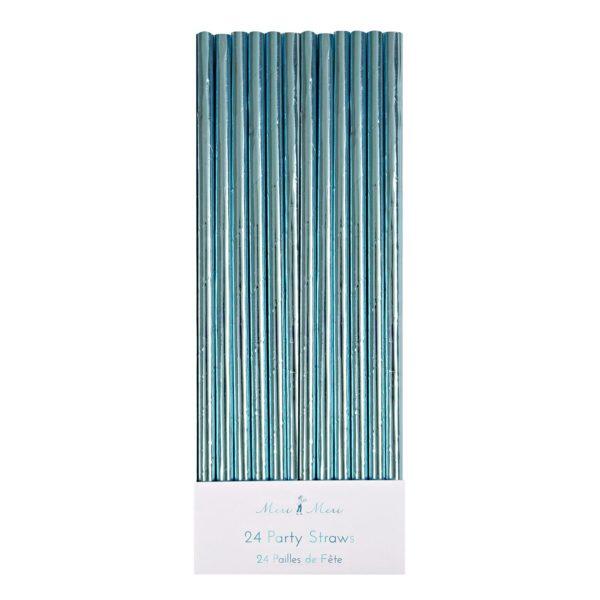 Blue Foil Party Straws