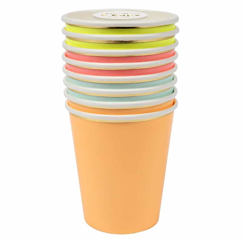 gobelet-neon-jaune-rose-vert-orange-fluo-meri-meri-baby-prestige