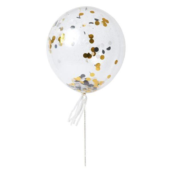 Kit de 8 ballons confetti or & argent