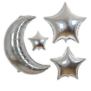 Pack of 6 balloons Moon & stars