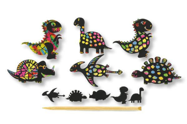 Cartes à gratter - 6 formes Dinosaures