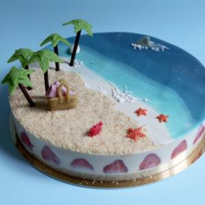 Gâteau La plage aux cocotiers