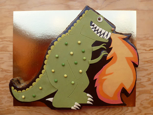 Fire-breathing Dinosaur Cake