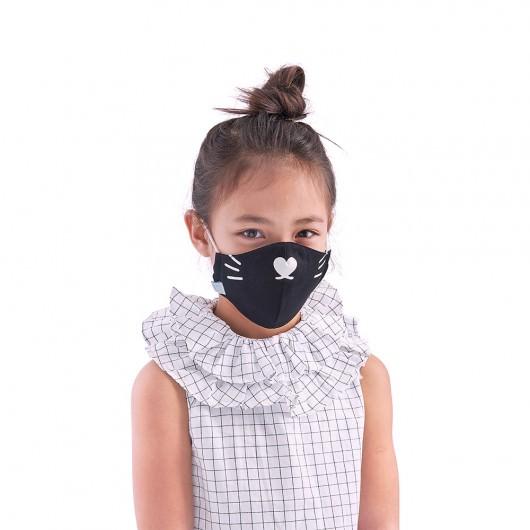 Children face mask COVID 19 Black Cat Mustache